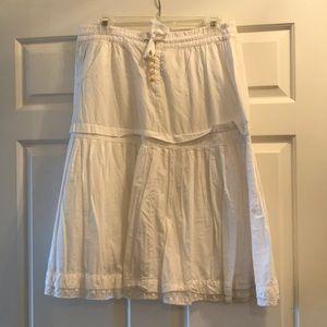 Jcrew white cotton midi skirt